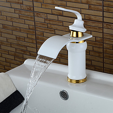 Bathroom Sink Faucet - Waterfall Painting Centerset Single Handle One Hole