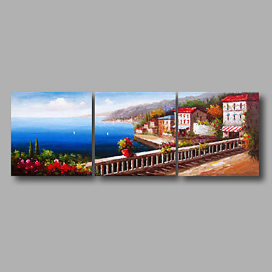 Hand-Painted Landscape Horizontal Panoramic, Modern Canvas Oil Painting Home Decoration Three Panels