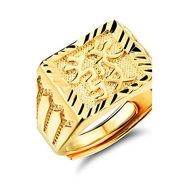Good Luck to Get Rich Men 24 K Gold Ring