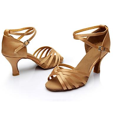 Women's Latin Samba Salsa Leatherette Satin Sandal Indoor Buckle Customized Heel Nude Black Silver Brown Gold Customizable