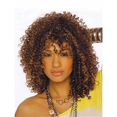 Syntetiske parykker Kinky Curly Syntetisk hår Hår med highlights / Afroamerikansk parykk Brun Parykk Dame Kort Naturlig parykk Lokkløs