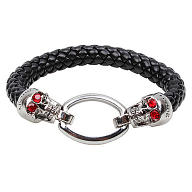 Vilam® Vintage Leather Rope Bracelet Alloy Men's Bracelet