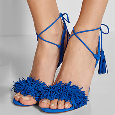 Women's Shoes Fleece Summer / Fall Stiletto Heel Tassel Purple / Red / Blue / Party & Evening / Party & Evening / Lace up