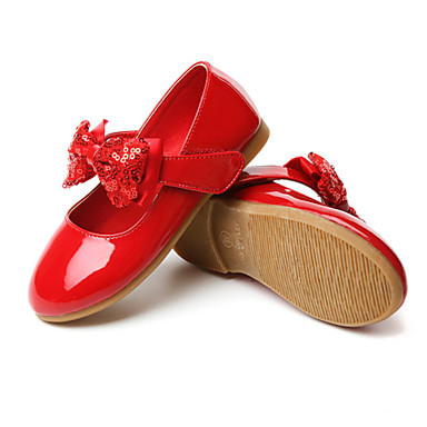 Girls' Shoes Leatherette / PU Spring / Fall Comfort Flats Bowknot / Magic Tape for Black / White / Red / Wedding / Party & Evening