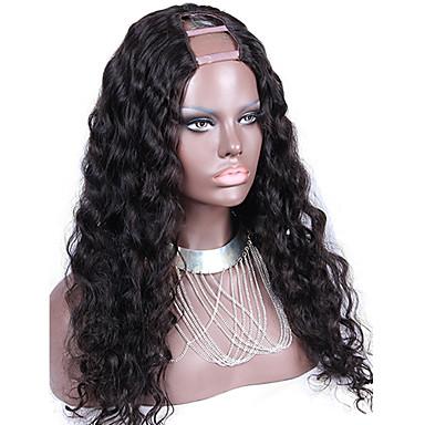 Women's Human Hair Lace Wig Human Hair U Part 130% Density Loose Wave Wig natural black Medium Long Natural Hairline 100% Hand Tied