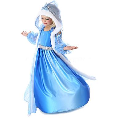 Prinsesse Eventyr Elsa Cosplay Kostumer Film-Cosplay Blå Frakk Kjole Hansker Halloween Nytt År Chiffon
