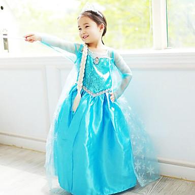 Prinsesse Eventyr Elsa Cosplay Kostumer Film-Cosplay Blå Kjole Halloween Nytt År Chiffon