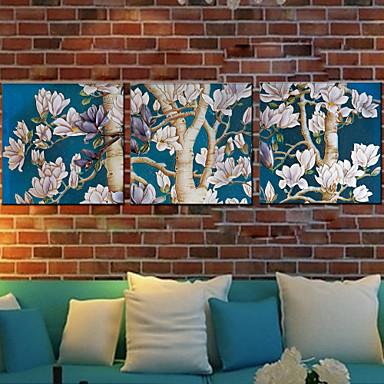 Kézzel festett Virágos / Botanikus Négyzet Hang festett olajfestmény lakberendezési Három elem