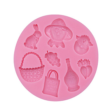 Farmer, Rabbit, Radish, Grape, Basket Shapped Silicone Cake Mold Fondnat,Chocolate Candy Cupcake Soap Mold SM-056