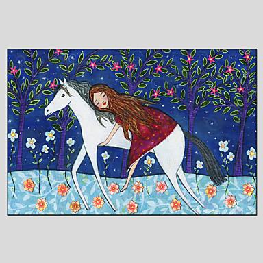 Pessoas / Animal / Botânico Impressão em tela Um Painel Pronto para pendurar , Horizontal