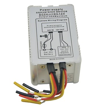 Metal Shell DC 24V Input to 12V Output 5A 6 Wires Power Supply Converter 60W