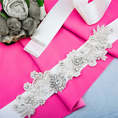 Satin Wedding Party / Evening Dailywear Sash With Rhinestone Beading Pearl Sequin Appliques Women's Sashes