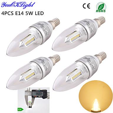 5W E14 LED gyertyaizzók C35 32 SMD 2835 400 lm Meleg fehér Dekoratív AC 220-240 / AC 110-130 V 4 db.