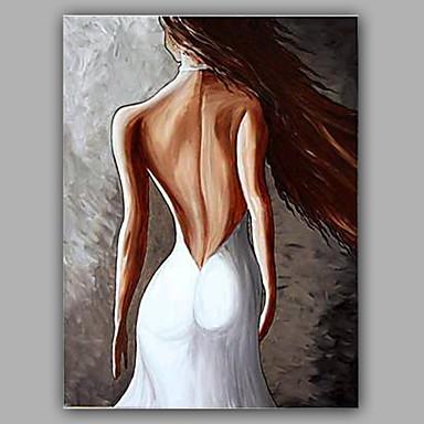 Pintura a Óleo Pintados à mão - Retratos Abstratos Modern Tela de pintura