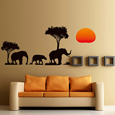 Wall Stickers Wall Decals Style The African Elephant In The Sunset Waterproof Removable PVC Wall Stickers