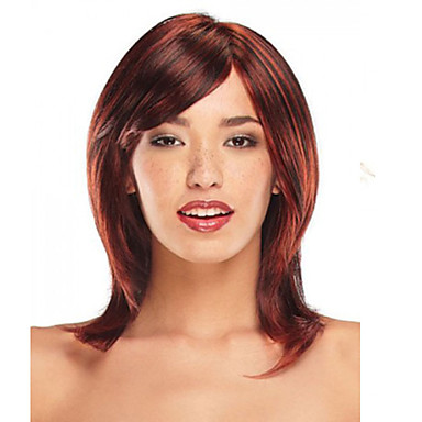 Women's Synthetic Wig Medium Straight Fuxia With Bangs Halloween Wig Carnival Wig Costume Wig