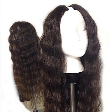Női Emberi hajból készült parókák Emberi haj U-rész 130% Sűrűség Hullámos haj Paróka Természetes szín Közepes Hosszú Természetes