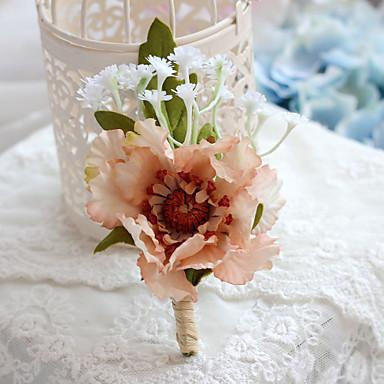 Bouquets de Noiva Forma-Livre Peônias Alfinetes de Lapela Casamento Festa / noite Poliéster