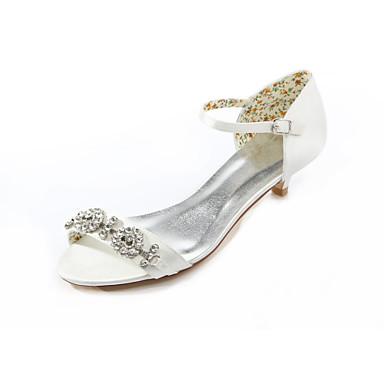 Kadın's Ayakkabı İpek Yaz Düşük Topuk Düğün Elbise Parti ve Gece için Kristal Kristal