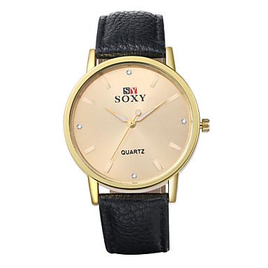 Masculino Relógio de Moda Quartz Impermeável Couro Banda Preta / Branco / Marrom / Bege marca-