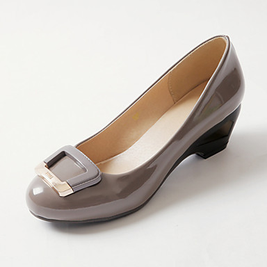 Mulheres Para Meninas Sapatos Courino Primavera Verão Salto Robusto para Social Branco Preto Cinzento Verde Rosa claro