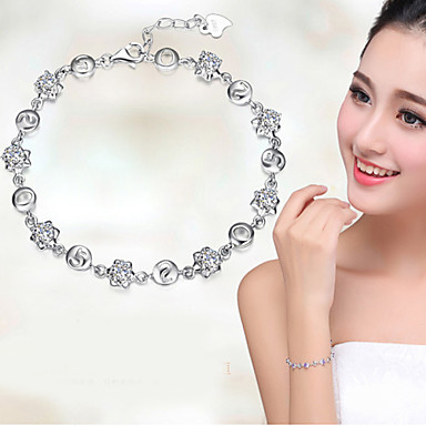 Women's Crystal Chain Bracelet / Charm Bracelet - Sterling Silver Bracelet White / Purple For Wedding / Party / Daily