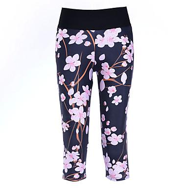 Mulheres Corrida 3/4 calças justas Leggings Calças Compressão Primavera Verão Outono Ioga Exercício e Atividade Física Poliéster Apertado