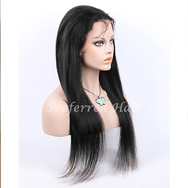 w magazynie 10-30inch jedwabiu prosto z baby hair przodu peruki koronki 100% ludzki włos dziewicy brazylijski u kobiet w niepełnym perukę