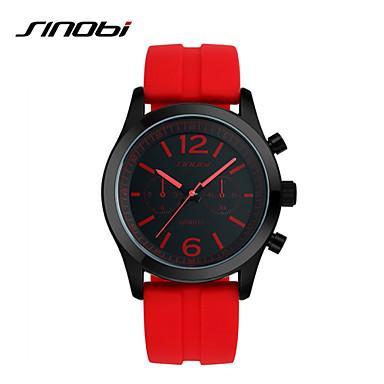 SINOBI Erkek Spor Saat Bilek Saati Quartz Su Resisdansı Spor Saat Silikon Bant Lüks Kırmızı Kırmzı