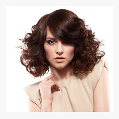 Sentetik Saç peruk Dalgalı Bonesiz Şort Kahverengi