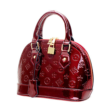 Női PU Alkalmi Bevásárlótáska Fekete / Burgundi vörös