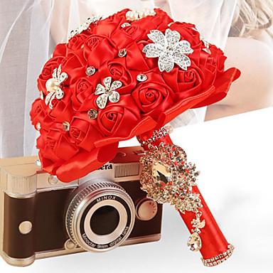 Düğün Çiçekleri Buketler Düğün Elastik Tül Yapay Elmas Saten 16.14