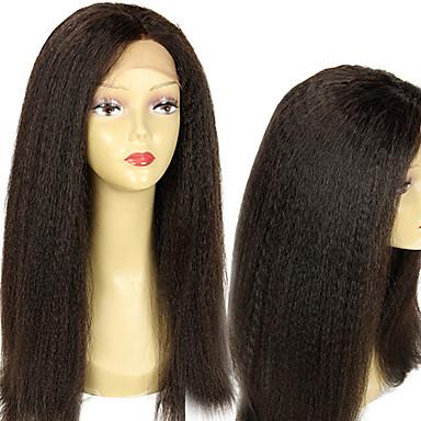 Kadın's Gerçek Saç Örme Peruklar Gerçek Saç Komple Dantel Tutkalsız Tam Dantel % 150 Yoğunluk Kinky Düz Düz Peruk Simsiyah Siyah Koyu