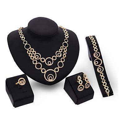 Damen Kubikzirkonia 18K Gold Schmuck-Set Armband Ohrringe Halsketten Ring - Retro Niedlich Party Büro Freizeit Erklärung Modisch Glied /
