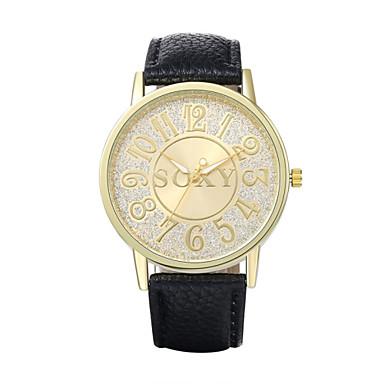 Homens Relógio Elegante Quartzo / Couro Banda Vintage Casual Preta Branco Marrom Bege