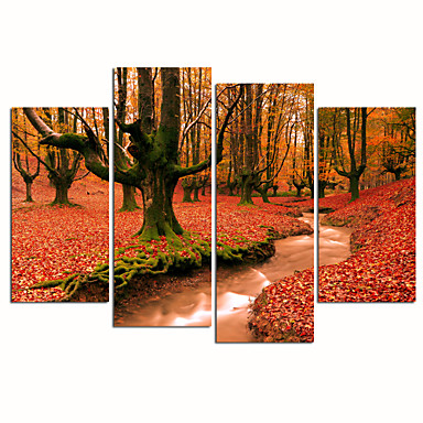 VISUAL STAR®Autumn Scenery Canvas Print Red Forest Canvas Art Stretched and Framed Ready to Hang