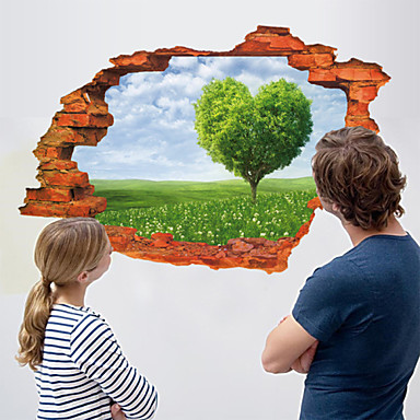 3D Wall Stickers Wall Decals Style Fresh Grassland Waterproof Removable PVC Wall Stickers