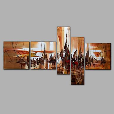 Kézzel festett AbsztraktSTÍLUS Öt elem Vászon Hang festett olajfestmény For lakberendezési