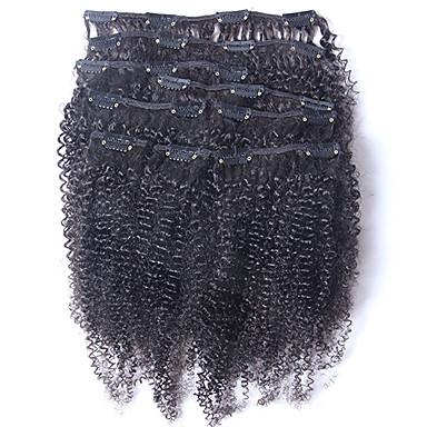 új brazil 100% emberi haj klip ins afro perverz göndör klip ins kiterjesztések haj sző természetes fekete színű 8 db / szett