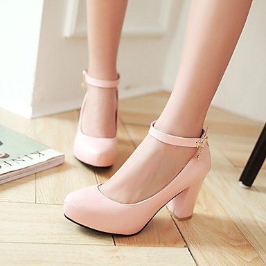 Women's Shoes Heel Heels / Platform / Round Toe Heels Office & Career / Dress / Casual Black / Pink / Purple / White