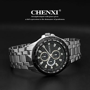 CHENXI® Masculino Relógio de Pulso Quartzo Quartzo Japonês Aço Inoxidável Banda Prata Branco Preto