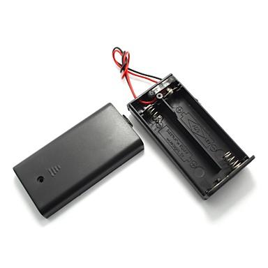 uxcell dois chumbo fio para ligar / desligar 2 x1.5v titular caso célula de bateria aa