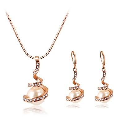 Mulheres Cristal / Imitação de Pérola Conjunto de jóias Brincos / Colares - Branco / Rosa / Dourado Para Casamento / Festa / Diário