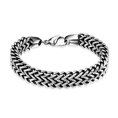 voordelige Herensieraden-Heren Armbanden met ketting en sluiting Dames Gepersonaliseerde Uniek ontwerp Modieus Roestvast staal Armband sieraden Zilver Voor Feest Dagelijks Causaal