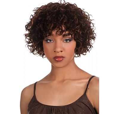 Cabelo Sintético perucas Encaracolado Peruca Afro Americanas Sem Touca Curto Marrom