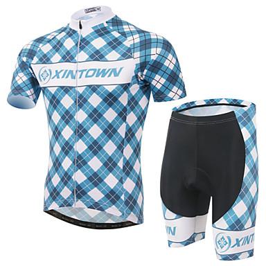 XINTOWN Manga Curta Camisa com Shorts para Ciclismo - Azul Moto Shorts Camisa/Roupas Para Esporte Conjuntos de Roupas, Tapete 3D, Secagem
