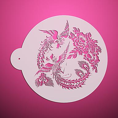 2*Phoenix & Peony Design Cupcake Top Stencils ,Decorating Stencils for Cake,Flower Cake Stencil ST-3116