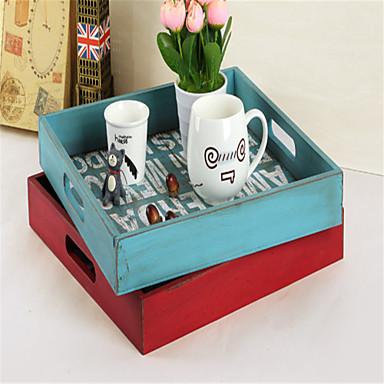 A régi fa ékszerdoboz retro asztali tároló kozmetika mini doboz hotel élelmiszer tálca