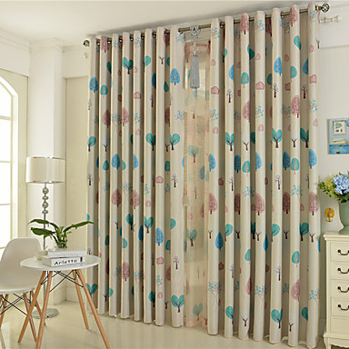 Rod Pocket Grommet Top Tab Top Double Pleat Pencil Pleat Two Panels Curtain European , Print Bedroom Polyester Material Blackout Curtains