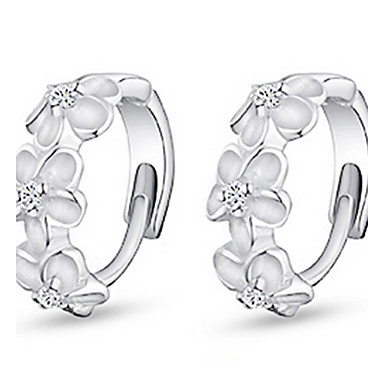 Women's Cubic Zirconia Hoop Earrings / Earrings - Sterling Silver, Zircon, Cubic Zirconia Flower Work, Birthstones Silver For Daily